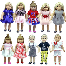 American Girl Dress For Dolls Leisure Dress Clothes Fits For 18 American Girl Doll Suit Baby Born Doll Clothes For Dolls doll accessories heart shaped round glasses suit for blythe doll glasses for american girl dolls sunglasses