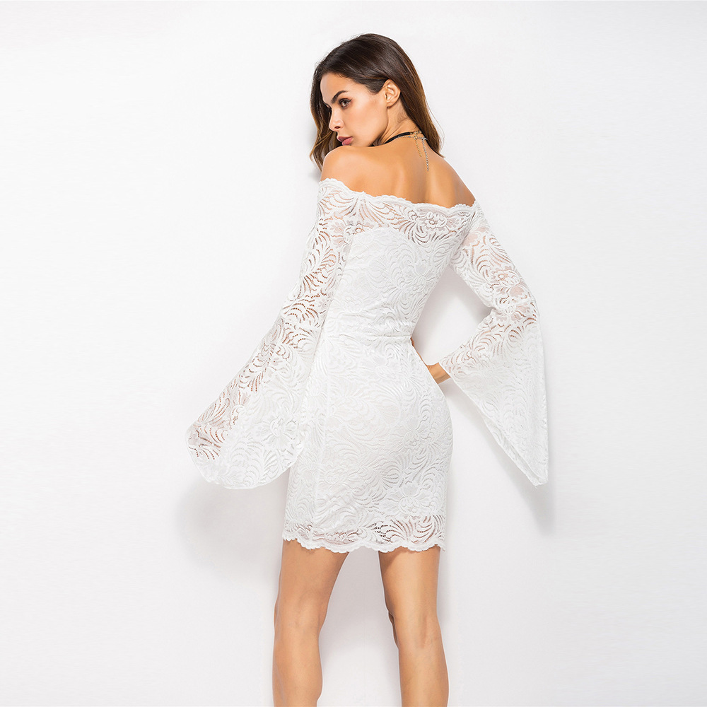 MUXU white lace sexy backless women summer dress vestido strapless bodycon dress long sleeve vestidos online shop clothing 2018 in Dresses from Women 39 s Clothing