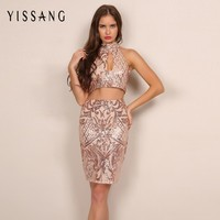 Yissang Latest Fashion Sequin Embroidered Two Set Dress Front Cut Out Sleeveless Women Crop Top Summer