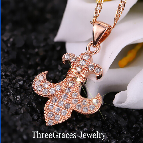 2015 Fashion Women Jewelry Rose Gold Plated Anchor Shape White Cubic