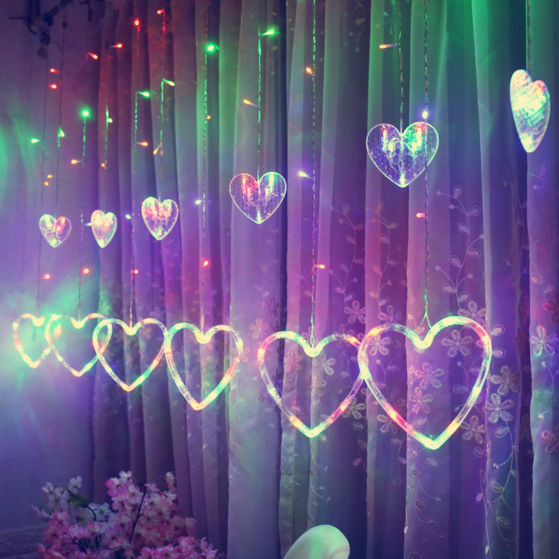 Led Twinkle Heart Shaped Hanging Curtain String Lights