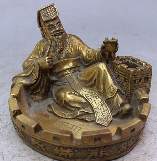 008744 Chinese Brass Happy Qin Shi Huang Hold Cup Overlie Great Wall Statue Ashtray008744 Chinese Brass Happy Qin Shi Huang Hold Cup Overlie Great Wall Statue Ashtray
