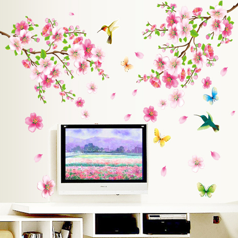 New fresh pink peach flower birds butterfly romantic home living room decorative mural decals Removable PVC wall stickers