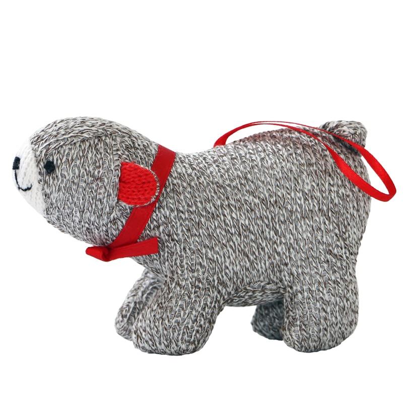14cm Cute plush bear animal doll christmas wooden mini ornaments mini christmas ornaments christmas desk decorations