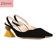 Sexy Pointed Toe Women Slingbacks Pumps Black Suede Formal Dress Party Valentine Sandals Strange High Heels Ladies Wedding Shoes стоимость