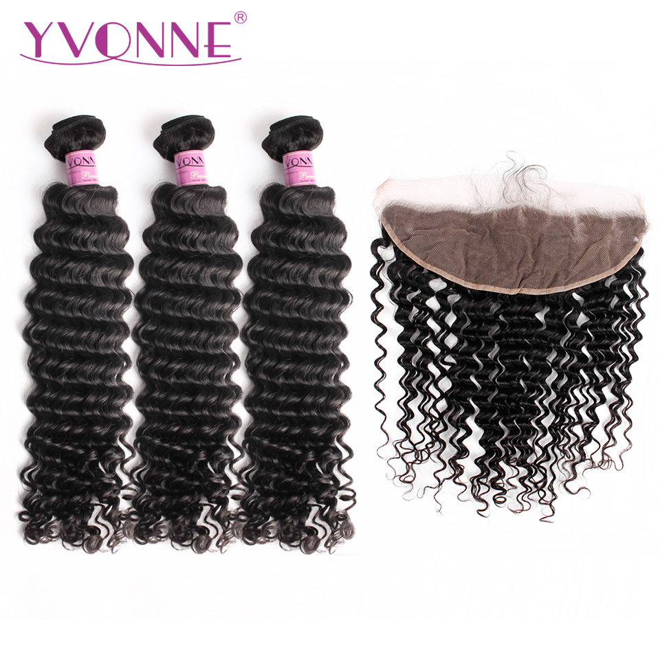 Yvonne Virgin Brazilian Deep Wave Bundles With Frontal Natural Color 3 Bundles Human Hair Weave With 13*4 Lace Frontal
