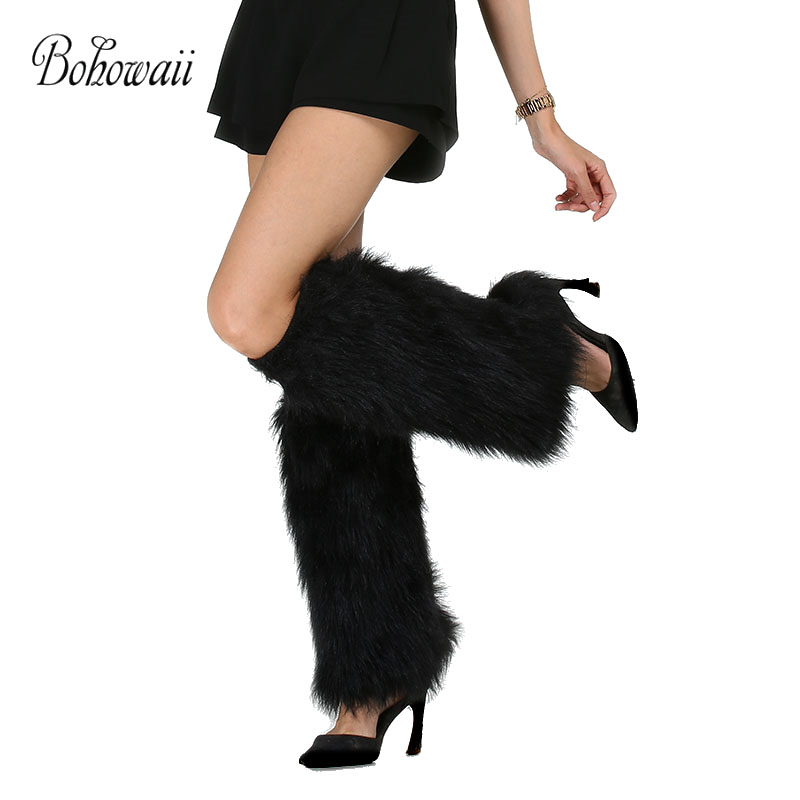 BOHOWAII Fashion Knee Sleeve Women Leg Warmers High Quality Faux Fur Calentadores Piernas Mujer Black Scaldamuscoli
