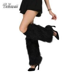 BOHOWAII/Модные женские гетры до колена; высокое качество; из искусственного меха; Calentadores Piernas Mujer; Цвет Черный; Scaldamuscoli