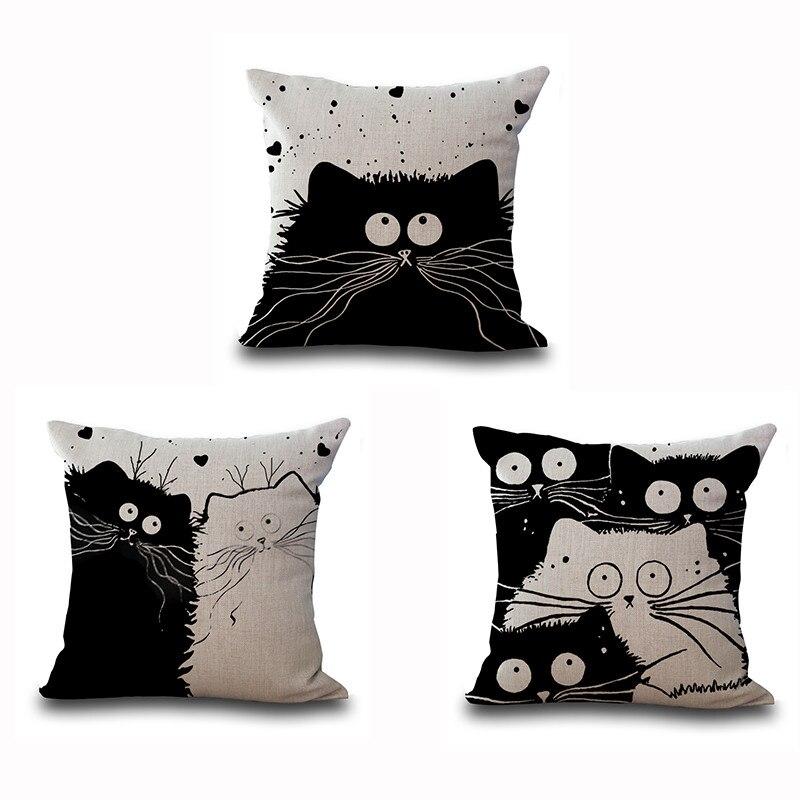 Новый Дизайн озорной Товары для кошек пара эскиз Чехлы для подушек милые черный, белый цвет кошка любовь Подушки Детские Чехлы для мангала Д...
