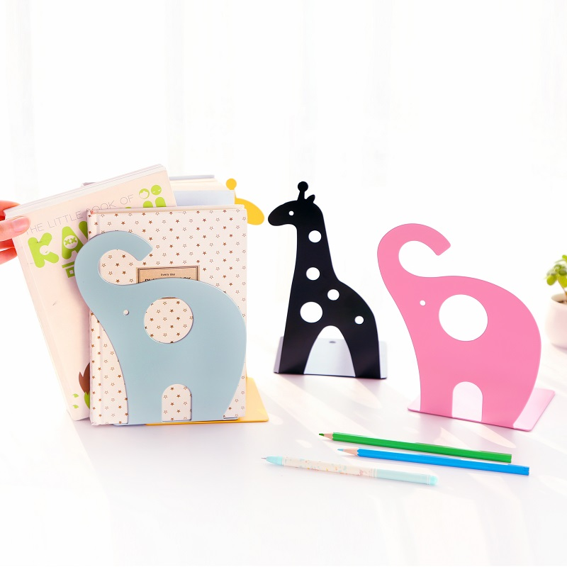 2pcs/pair South Korea style stationery bookstands cute animal shape metal bookends book holder desktop storage rack paperalia deli korea creative book holder 2pcs set metal bookends decorative bookend cute animal book holder for reading support kid gifts