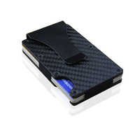 Vbiger Slim Carbon Fiber Money Clip Chic RFID Blocking Portable Card Wallet For Men