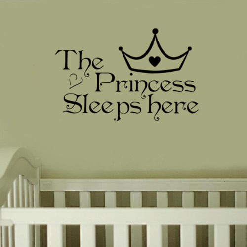 The Princess Sleeps Here Wall Sticker Words Wall Decals Home Decor Wall Quote Bedroom Wallpaper Hot