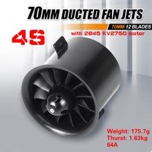 FMS 70 مللي متر 12 شفرات مروحة مجدولة EDF وحدة مع إصدار محرك KV2750 4s لطائرة RC طائرة هواية نموذج قطع غيار الطائرة