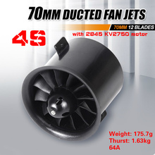 FMS 70mm 12 Blades Ducted Fan EDF Unit With 2845 KV2750 Motor 4S version For RC Airplane Aircraft Hobby Model Spare Plane Parts