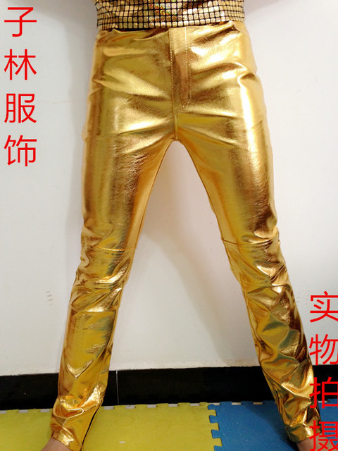 Stage show performances dj pants fashion mens Leisure personality men's tight PU leather  gold silver pants male singer trousers