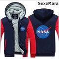 НАСА Логотипом Вскользь Толстовки Пальто Осень Зима Сгущать Лоскутные Кофты Верхняя Одежда Моды Случайные Куртка С Капюшоном