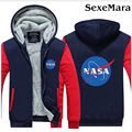 NASA Printed Logo Casual Hoodies Coats Autumn Winter Thicken Patchwork Sweatshirts Outerwear Fashion Casual Hooded Jacket