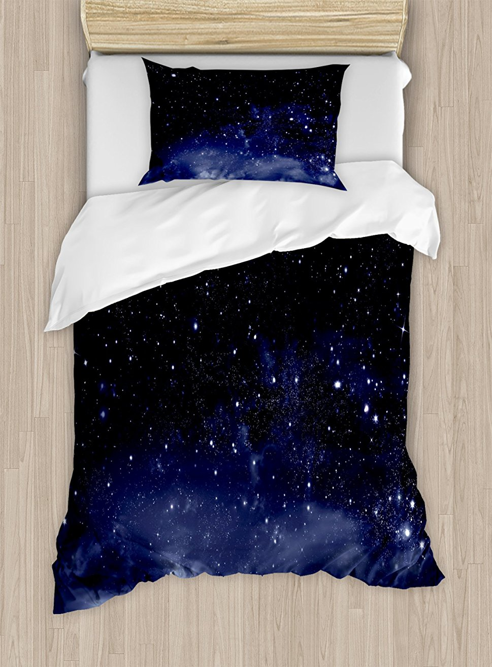 Duvet Cover Set Ethereal View of the Dark Sky Atmosphere Nebula Fantasy Cosmic Universe Theme, 4 Piece Bedding Set