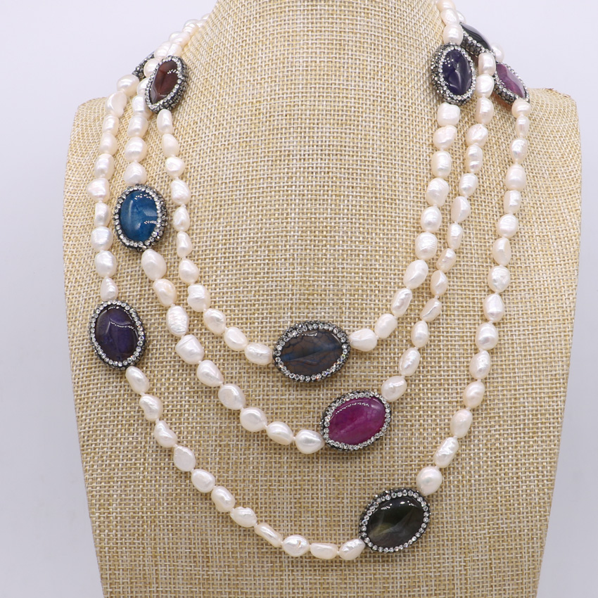 4 Strand Handcrafted Natural pearl necklace with multi colors Natural stones pearl necklace gems jewelry for