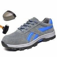 Легкая дышащая мужская защитная обувь из натуральной кожи со стальным носком; рабочие туфли для мужчин; кроссовки с защитой от ударов