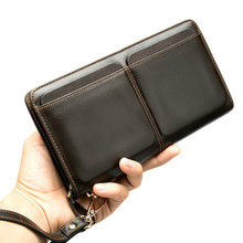 Genuine Leather Wallets With Coin Pocket Long Zipper Coin Purse for Men Clutch Business Male Wallet Zipper Vintage Large Wallet