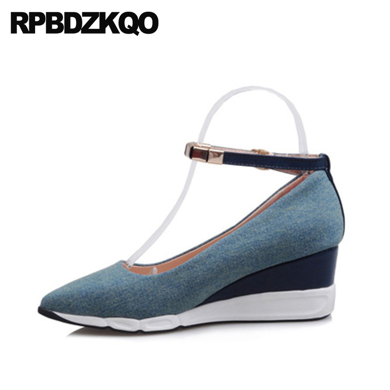 Pointed Toe Designer Cheap Medium Heels Blue Pumps 2018 Size 4 34 Metal Ladies New Shoes Denim Ankle Strap Canvas Wedge CasualPointed Toe Designer Cheap Medium Heels Blue Pumps 2018 Size 4 34 Metal Ladies New Shoes Denim Ankle Strap Canvas Wedge Casual