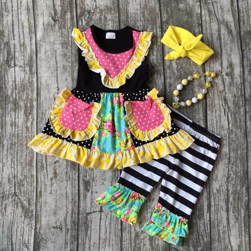 Baby girls summer clothing girls floral stripe capri pants clothing girls polka dot clothes with pocket