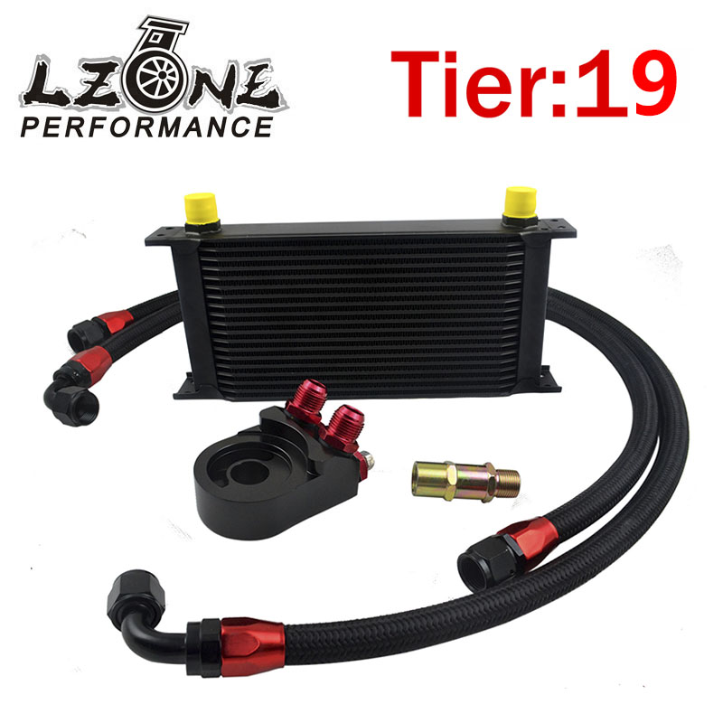 LZONE RACING - UNIVERSAL 19 ROWS OIL COOLER ENGINE+AN10 Oil Filter Cooler Sandwich Plate Adapter+2PCS NYLON BRAIDED HOSE LINE