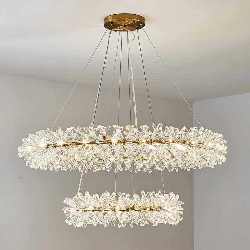 Постмодерн блеск хрустальная люстра освещение гостиная золото металл подвесные люстры со светодиодами освещение столовая подвесной светильник