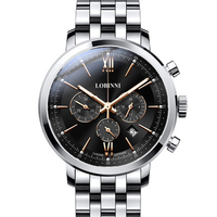 LOBINNI Men's Watch Business 50M Waterproof Steel Strap Multi function Chronograph Dial Quartz Wrist Watch Men Sapphire L3605 2