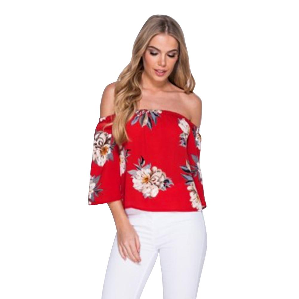 Mujeres de la impresión Floral del hombro blusa de la gasa tops halter fresco ca