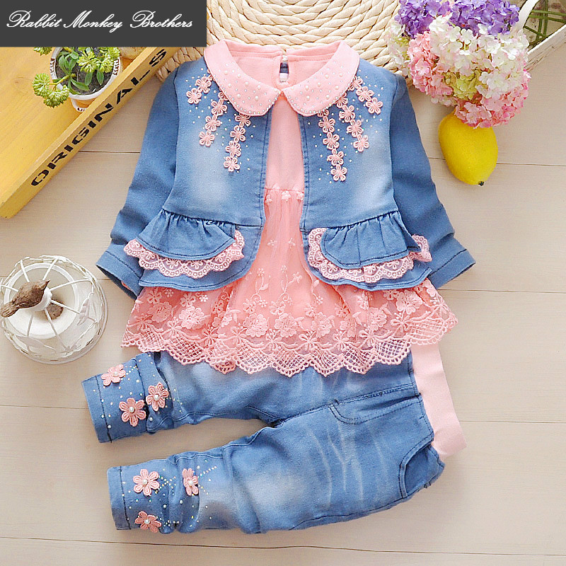 1-2-3 years girl  spring and fall denim three-piece set 6 to 12 months baby infant and a half years old baby girls leisure suit