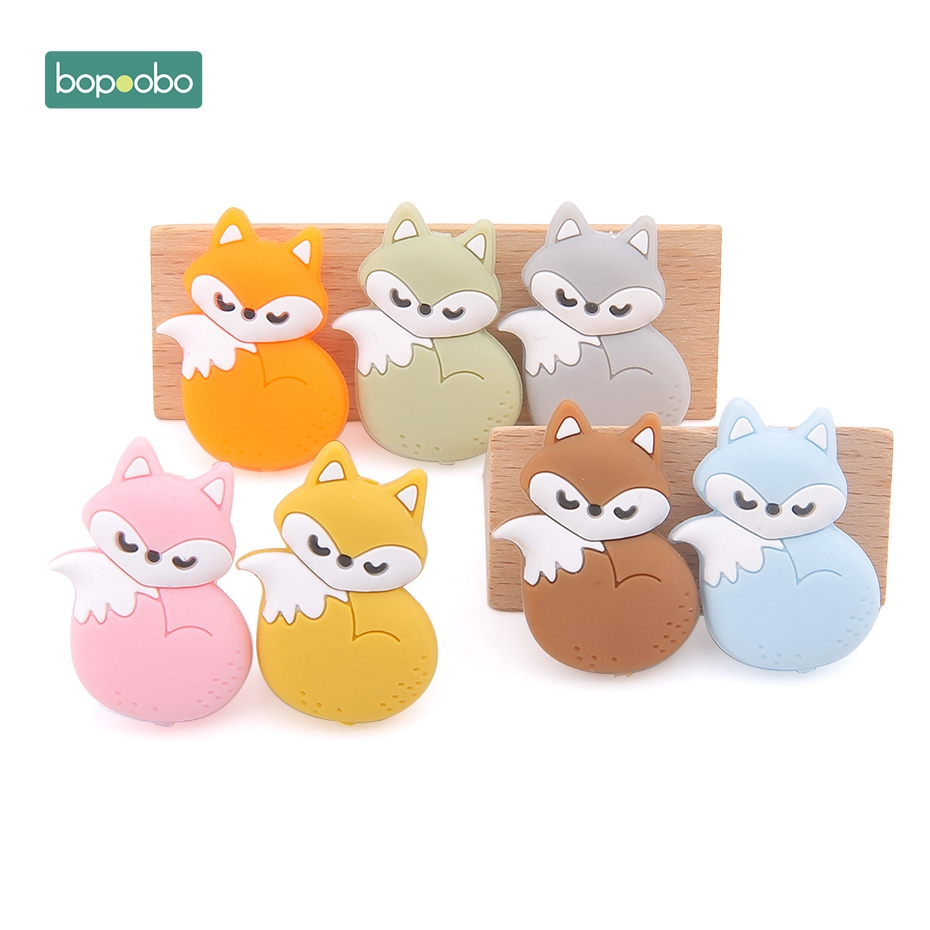Bopoobo 5pc Silicone Bpa Free Teether Mini Fox Silicone Beads Teethers Colorful Fox Bead Food Grade Silicone Baby Teething