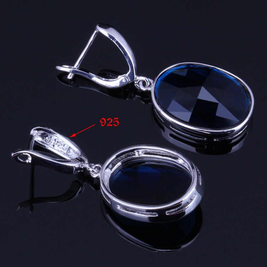 Niezwykłe owalne niebieska cyrkonia sześcienna 925 Sterling Silver Jewelry Sets dla kobiet kolczyki wisiorek łańcucha pierścień V0011