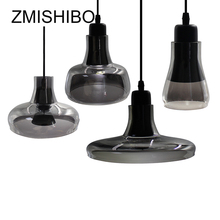 ZMISHIBO European Style Glass Pendant Lamp 100-240V E27 Socket Single Smoke Gray Ceiling Mounted Bar Dining Desk Bedroom 5W