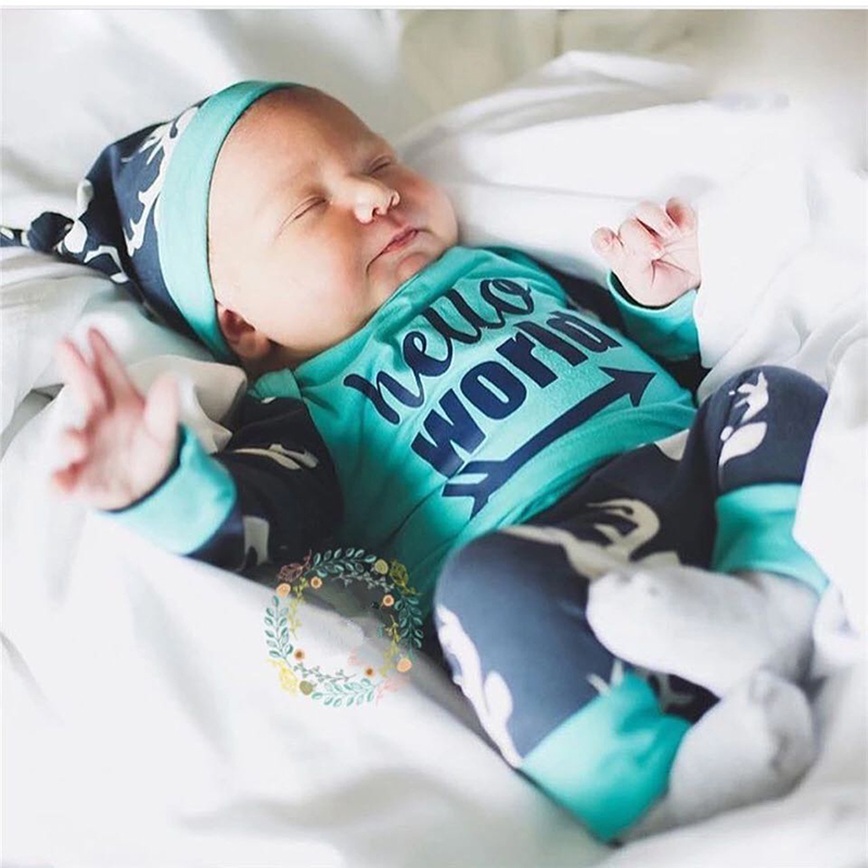3PCS Newborn Baby Clothes Set Hello World Tops+Pants+Hat Outfits Clothes Deer Head Printed Cute Baby Boys Girls Clothing 0-24M