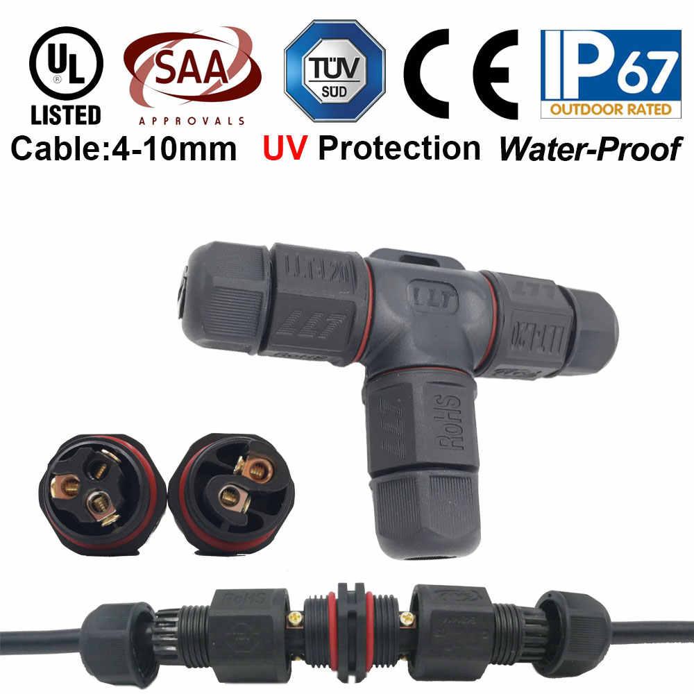 IP67 15A 2 3-контактный водонепроницаемый коннектор-адаптер Винт замковый Кабельный разъем доказательство воды промышленный электрический провод разъем