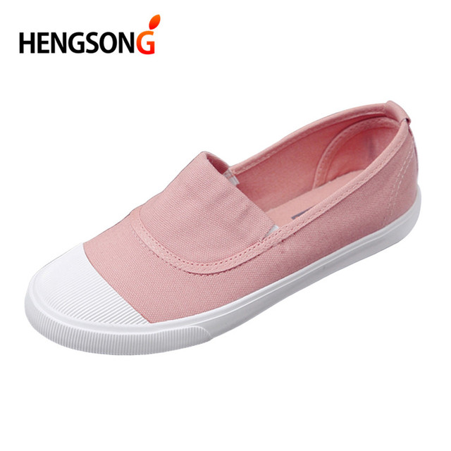 ec06009d8cd6 HENGSONG Canvas Student Flat Comfortable White Shoes Women Basic Casual  Solid slip-on Canvas Summer