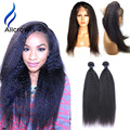 Alicrown Kinky Straight Hair 360 Lace Frontal With Bundle 10a Unprocessed Brazilian Virgin Hair 360 Closure With Bundles