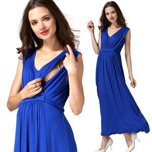 Image 3 - Vestidos de Noche largos de verano para mujeres embarazadas, vestidos de maternidad para lactancia materna