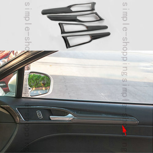 4x Carbon Fiber Color Door Handle Bowl Frame Cover Trim For Ford Fusion Mondeo car styling 4pcs chrome interior door handle bowl cover trim for land rover discovery 4 2010 2016
