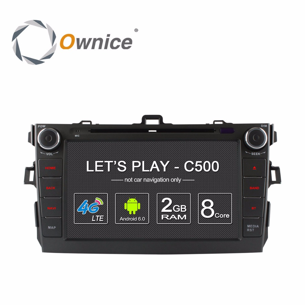 Ownice C500 Android car dvd player for Toyota corolla 2007 2008 2009 2010 2011 in dash