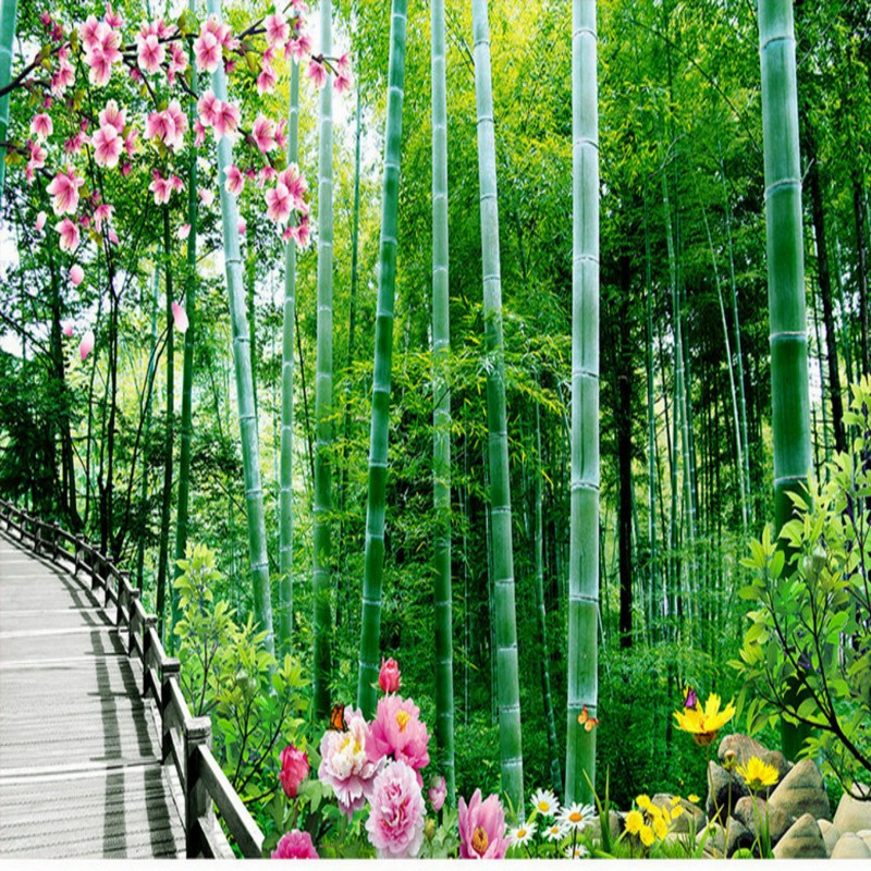 Free Shipping Bamboo Forest Trail 3D Landscape Mural Background Wall lobby wallpaper mural living room bedroom home decoration  free shipping 3d wall breaking basketball background wall bedroom living room studio mural home decoration wallpaper