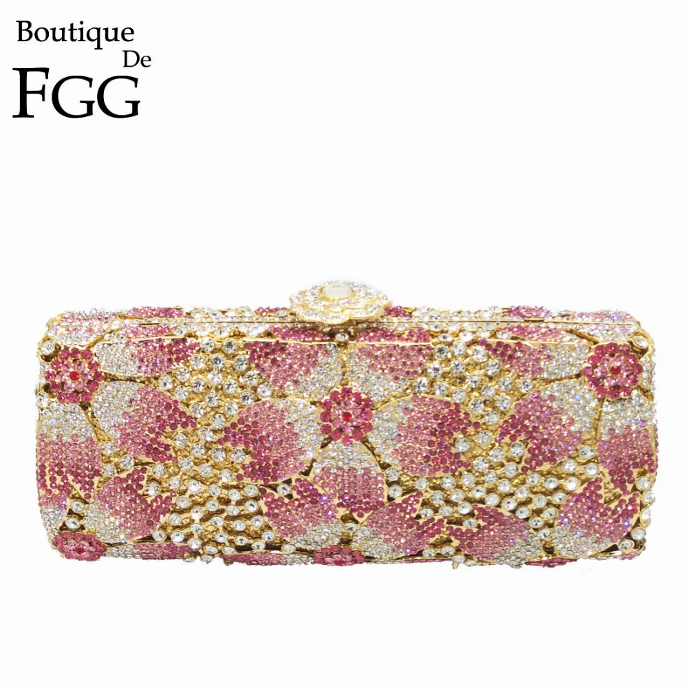 Gift Box Hollow Out Floral Evening Clutches Party Wedding Vintage Rhinestone Evening Pink Crystal Clutch Bag Women Shoulder Bags gold plating floral flower hollow out dazzling crystal women bag luxury brand clutches diamonds wedding evening clutch purse