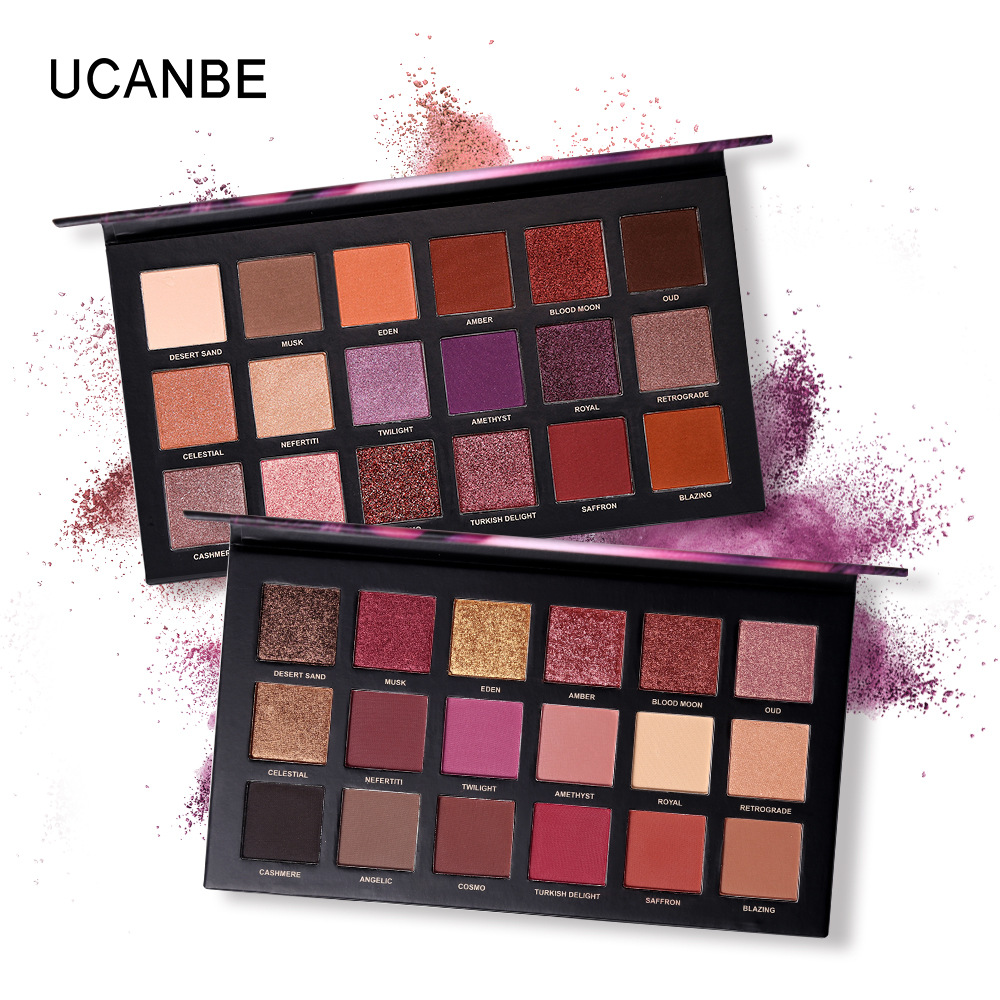 Ucanbe New 18 color rose gold eye shadow disk desert dish mashed herring twilight&dusk e ...