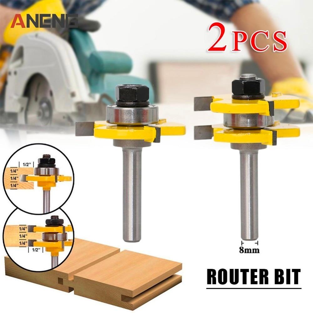 2 PCS/ Set 8mm Shank 2 Bit Tongue And Groove Router Bit Set Wood Milling Cutter Flooring Knife