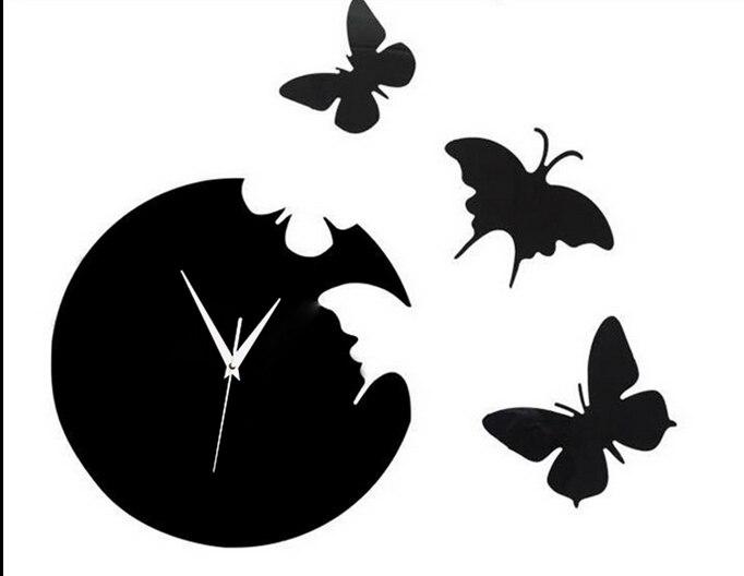021249 поделки DIY бабочка летит вокруг творческой настенные часы yakeli Mute брак комнате украшения настенные часы
