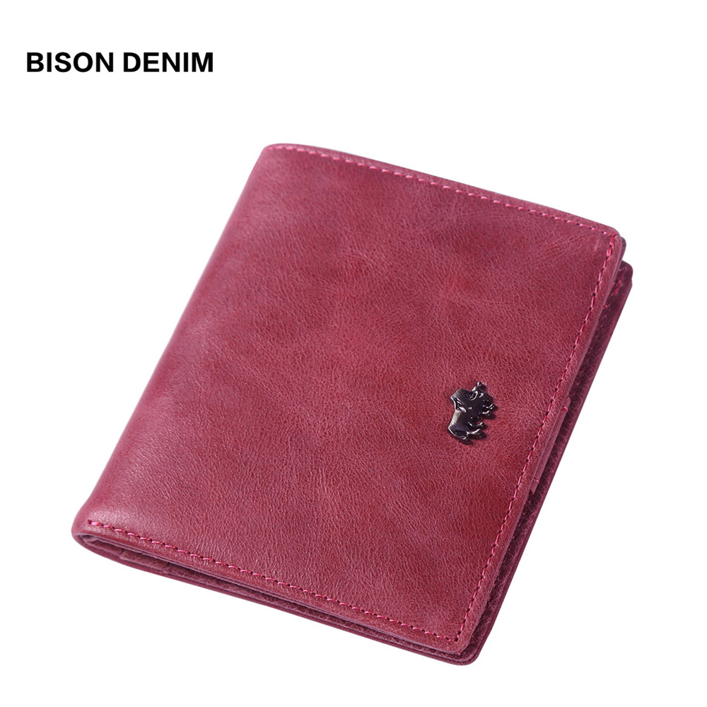 BISON DENIM 2018 Luxury Brand wallets designer women Genuine leather short Wallets Zipper Coin ladies leather wallets  W9317