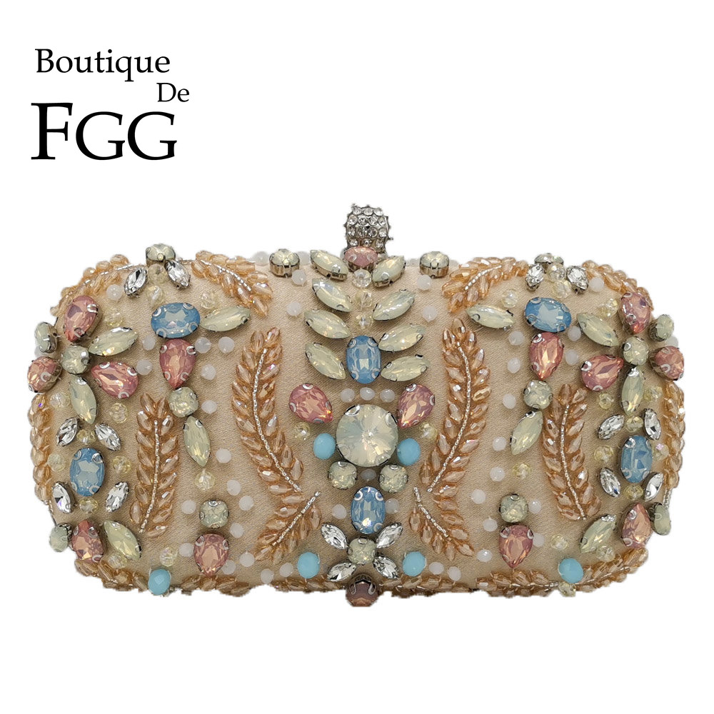 Boutique De FGG Vintage Women Beaded Evening Bags Wedding Cocktail Laides Metal Clutches Bag Chain Shoulder Purses And Handbags