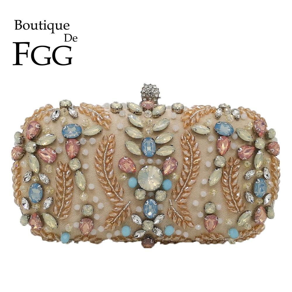 Boutique De FGG Vintage Women Beaded Evening Bags Wedding Cocktail Laides Metal Clutches Bag Chain Shoulder Purses And Handbags